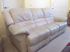 Leather 3 piece suite in good condition one chair is a electric recliner arms and seats have faded