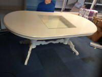 office meeting table dining white with built in display square glass window