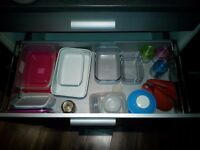 Food storage containers, glass and plastic and oven serving dishes