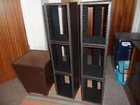 2 LEATHER CD RACK WITH LEATHER BIN