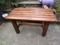 "NEW BESPOKE HAND MADE SOLID WOOD GARDEN TABLE. 51"" X 26"" X 30""."