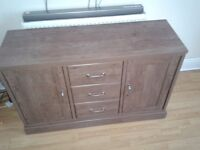 Darkwood Sideboard with Two Doors and Three Drawers