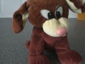 Soft Cream and brown soft dog toy (New)