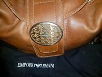 Emporio Armani tan genuine leather bag