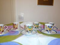 eschenbach baverian porceline cups and saucers set of 6 psychadelic 70 pattern
