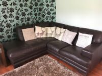Large chocolate brown 3 seater settee