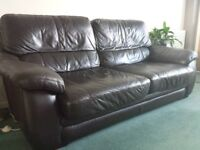 Brown Leather Settee/Sofa