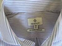 BNWT Gant Men White Shirt Black Pink Stripe Top Small Long Sleeve RRP £100