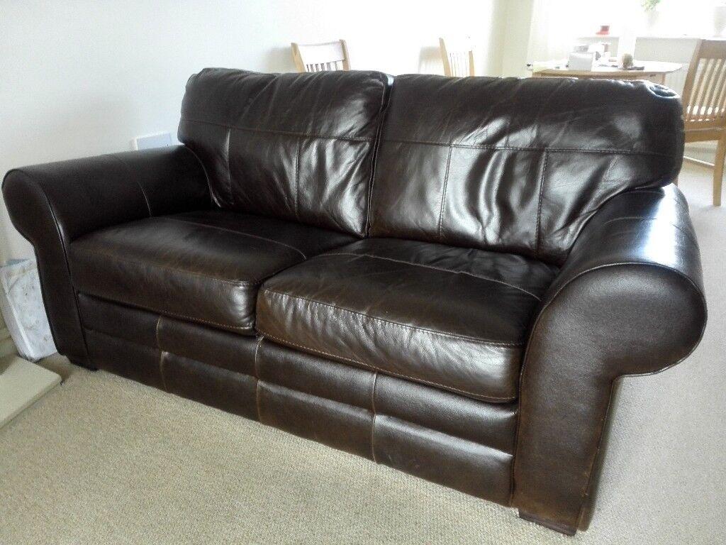 Argos Salisbury 2 Seater Standard Leather Sofa Dark Brown