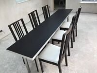 For sale Dining Table and 6 Chairs in Black
