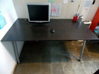 LARGE IKEA BUSINESS OFFICE DESK - HEIGHT ADJUSTABLE - IN BLACK ASH FINISH