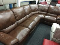 New/Ex Display Tan Brown Leather LazyBoy Caravella Corner Recliner Sofa (Left or Right Side Corner)