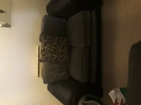 Grey and black 2 seater sofa