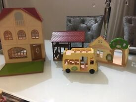 Sylviaian families bundle - house, barn, nursery, bus, families and furniture