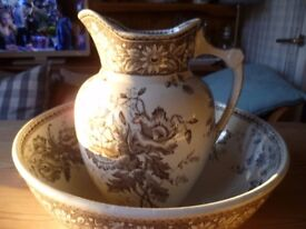 A Victorian large bowl and pitcher in brown transfer print