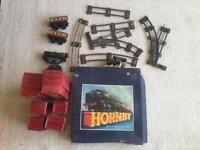 Vintage Meccano Hornby clockwork train set from 1940s / 1950s. Passenger set 21 Gauge 0