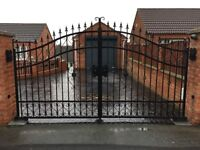 Heavy Duty Hammered Steel Wrought Iron Driveway Gates