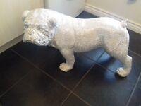 Large Bulldog Silver Diamante Sculpture Ornament