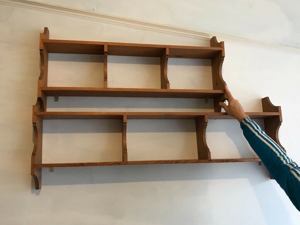 Two vintage wooden wall book/ decoration shelves