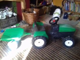 Green ride on Tractor with trailer