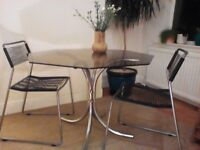 Retro glass table and chairs