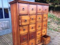 Vintage Solid Wood Haberdashery Apothecary /Merchants Cabinet /Chest Of Drawers