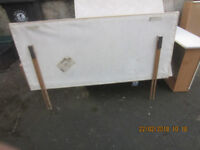 Headboard for Double Bed - Beige Suede effect with uprights - USED