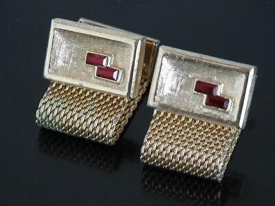 Around Crystal - Vtg Jeweled Ruby Red Stone Snap Wrap Around Cufflinks Crystal Gold Tone