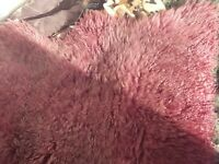 Hanlin sheepskin rug. Dark pink, grey. Excellent condition, washed: label disintegrated.