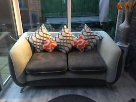 Modern 2 seater sofa - two tone grey