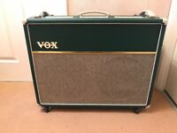 Limited edition racecar green Vox AC30C2 combo amplifier with fitted cover and VFS2A footswitch