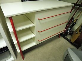 IKEA White Red Wood and Metal Sideboard, Cabinet, as new