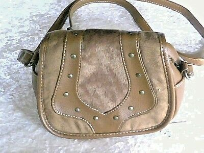 Cowhide Leather Shoulder Strap - Brown Purse Faux Leather & Cowhide Western Studs Long Adjustable Shoulder Strap