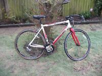 Vertigo racing bike - aluminium fame, lightweight racer, 14 gears, new saddle, excellent condition.
