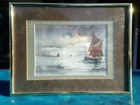 Watercolour Painting of old sailing barge, size 41.5cm x 31.5cm. Signed Original.