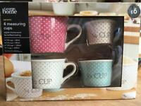 Asda polka dot ceramic measuring cups.