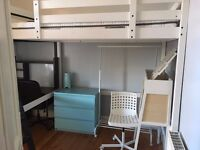 DOUBLE LOFT BED - MATTRESS - DESK W/CHAIR - CHEST OF DRAWER. Purchased New only 6 months ago!