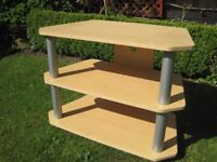 TV Unit - Beech & Silver Excellent condition Good solid piece of furniture --£5--
