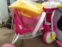 Kids bicycle perfect condition- basket and handmoving rod at the back-removable locks