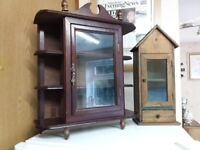 2 x Small wooden display cabinets with glass opening doors for internal display of small ornaments.