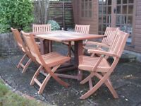 GARDEN TABLE and CHAIRS - Solid wooden gateleg table & 6 chairs