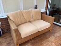 Conservatory furniture - Next rattan 2 seater sofa and chair