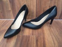 Women's TU black leather high heels, size 4
