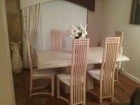Italian marble dining table with 6 chairs and sideboard