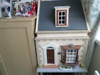 DOLLS HOUSE TEA ROOM WITH ATTIC COMPLETE WITH FURNITURE AND DOLLS