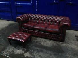 2 piece suite chesterfield 3 seater sofa oxblood can deliver & footstool