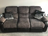 3 seater grey/black leather sofa PLUS leather armchair***
