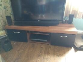 Black and walnut effect TV stand