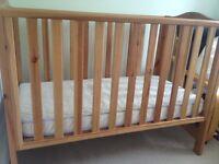 John Lewis pine cot and mattress