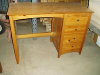 Small desk will take a laptop PC and papers over the drawers.
